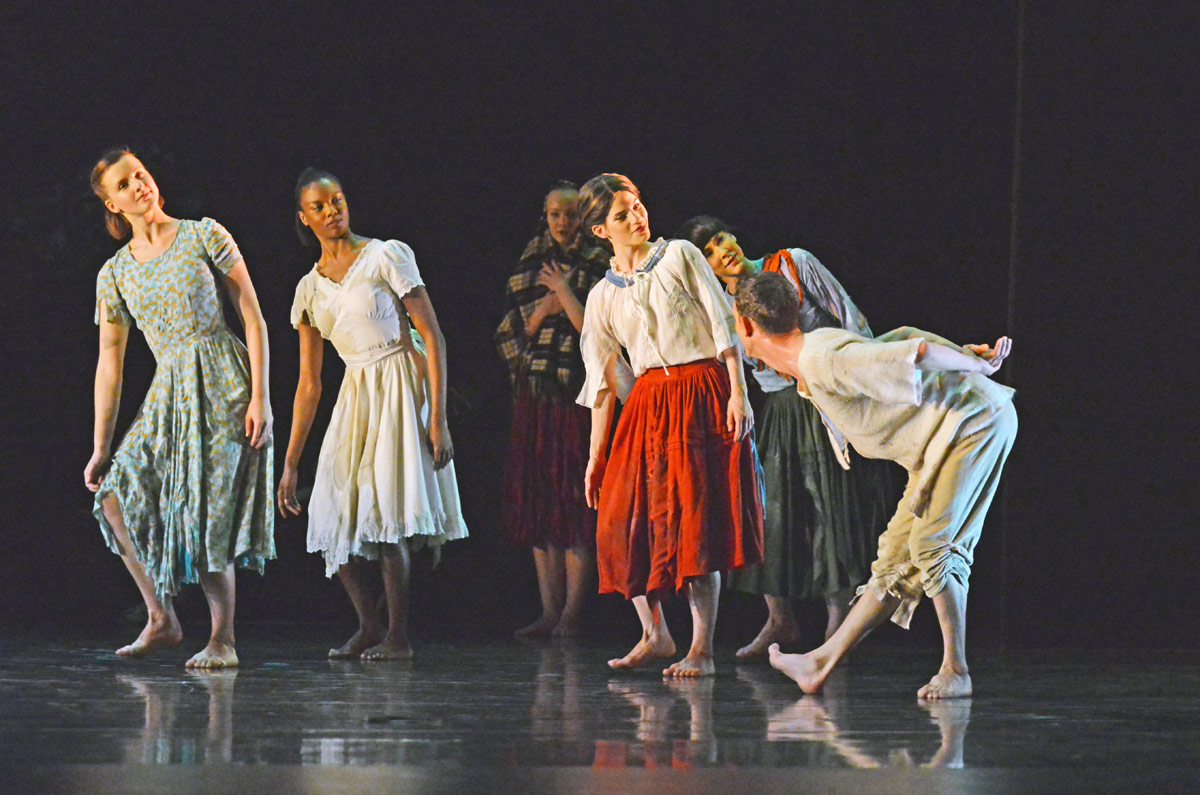 Luke Ahmet, with Edit Domoszlai, Carolyn Bolton, Hannah Rudd and Lucy Balfour in Ghost Dances.© Dave Morgan. (Click image for larger version)
