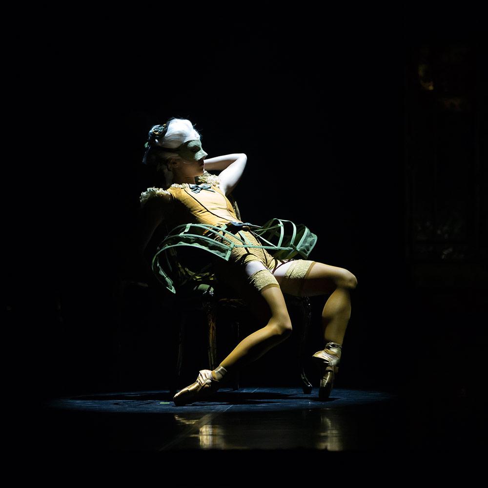 Northern Ballet dancer as a Courtesan in Casanova.© Emma Kauldhar. (Click image for larger version)