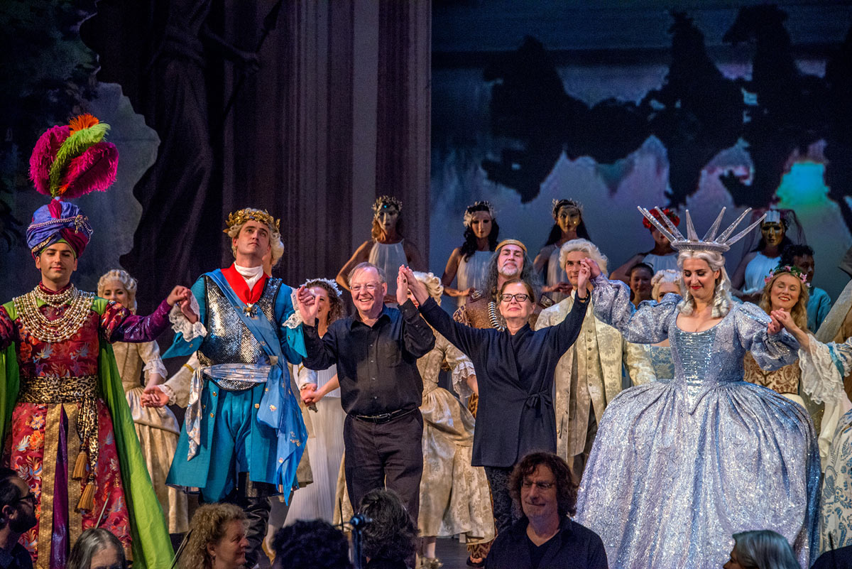 Artavazd Sargsyan as Bacchus, Aaron Sheehan as Trajan, PBO Music Director Nicholas McGegan, New York Baroque Dance Company Director, stage director and choreogapher Catherine Turocy, and Chantal Santon-Jeffery as Gloire in <I>Le Temple de la Gloire</I> by Rameau.<br />© Frank Wing. (Click image for larger version)