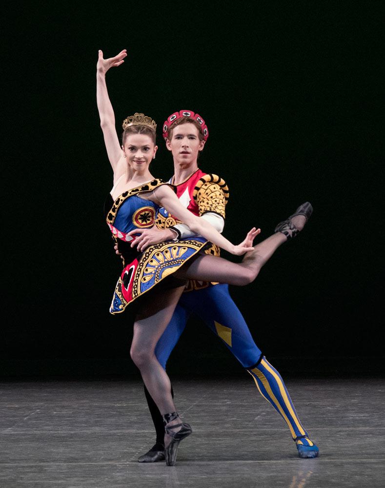 Megan Fairchild and Joseph Gordon in <I>Jeu de Cartes</I>.<br />© Paul Kolnik. (Click image for larger version)