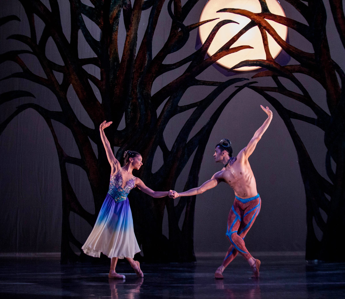 Céline Gittens as Selene and Brandon Lawrence as Pan in Arcadia.© Ty Singleton. (Click image for larger version)