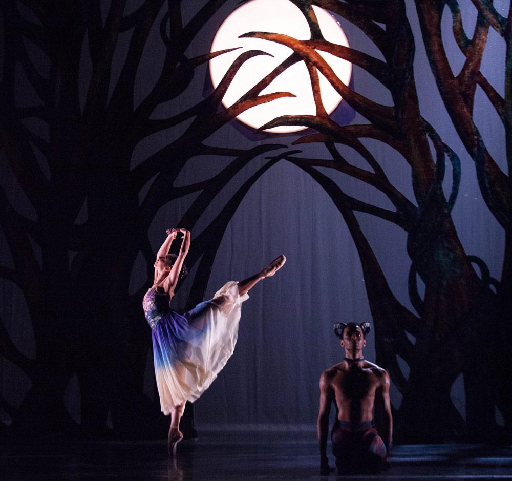 Céline Gittens as Selene and Brandon Lawrence as Pan in Arcadia.© Ty Singleton. (Click image for larger version)