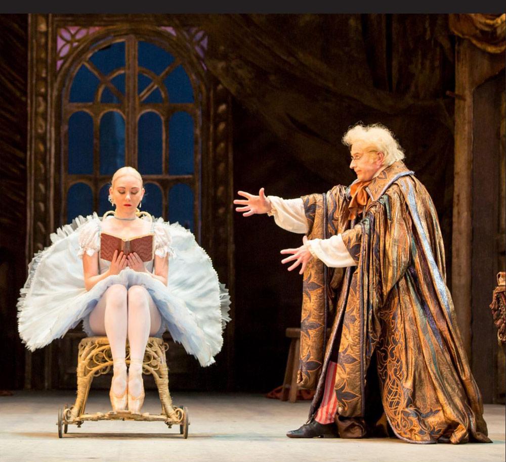 Elisha Willis (Swanilda) and Michael O'Hare (Dr Coppelius) in Coppélia.© Andrew Ross. (Click image for larger version)