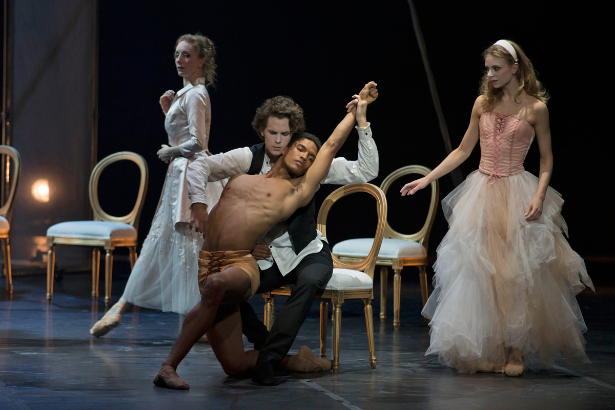 Kizzy Matiakis (Merteuil), Andreas Kaas (Danceny), Sebastian Haynes (cello!) and Ida Praetorius (Cecile) in Dangerous Liaisons.© Costin Radu. (Click image for larger version)