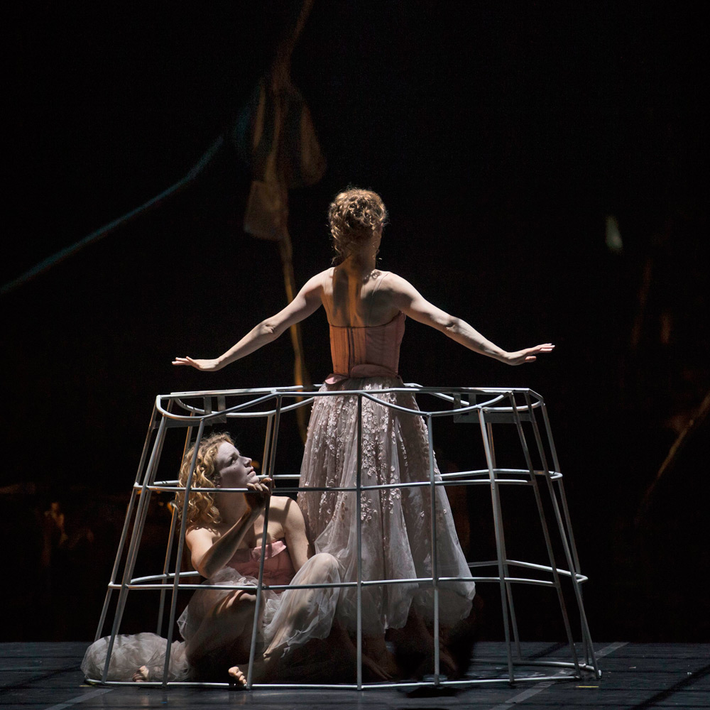 Marie Dalsgaard and Kizzy Matiakis as the acting and dancing Marquise de Merteuil in Dangerous Liaisons.© Costin Radu. (Click image for larger version)