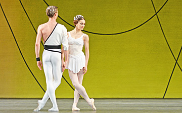 Tristan Dyer, Yuhui Choe, Vadim Muntagirov, Marianela Nunez, James Hay and Yasmine Naghdi in Symphonic Variations.© Dave Morgan, courtesy the Royal Opera House. (Click image for larger version)
