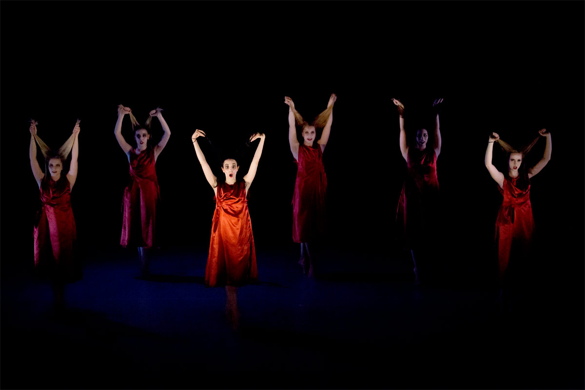 Briony Andrew, Courtney Reading, Eleonora Falovo, Maria Bruget, Gwainn van der Bijl and Jessica Harding in Liz Aggiss' Scenes of Death and Disaster.© Fiona Whyte. (Click image for larger version)