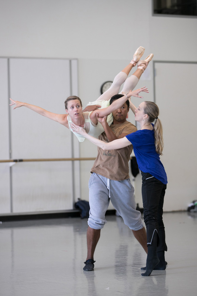 Wendy Whelan in rehearsal with Pacific Northwest Ballet principal dancers Lesley Rausch and Batkhurel Bold, for the PNB premiere of Alexei Ratmansky's Pictures at an Exhibition.