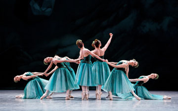 Paris Opera Ballet in Emeralds.© Agathe Poupeney. (Click image for larger version)Jewels, choreography by George Balanchine, ©The George Balanchine Trust.