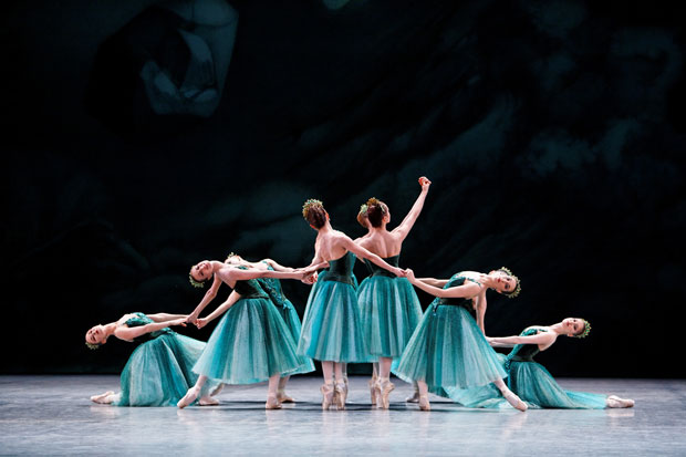 Paris Opera Ballet in <I>Emeralds</I>.<br />© Agathe Poupeney. (Click image for larger version)<br /><I>Jewels</I>, choreography by George Balanchine, ©The George Balanchine Trust.