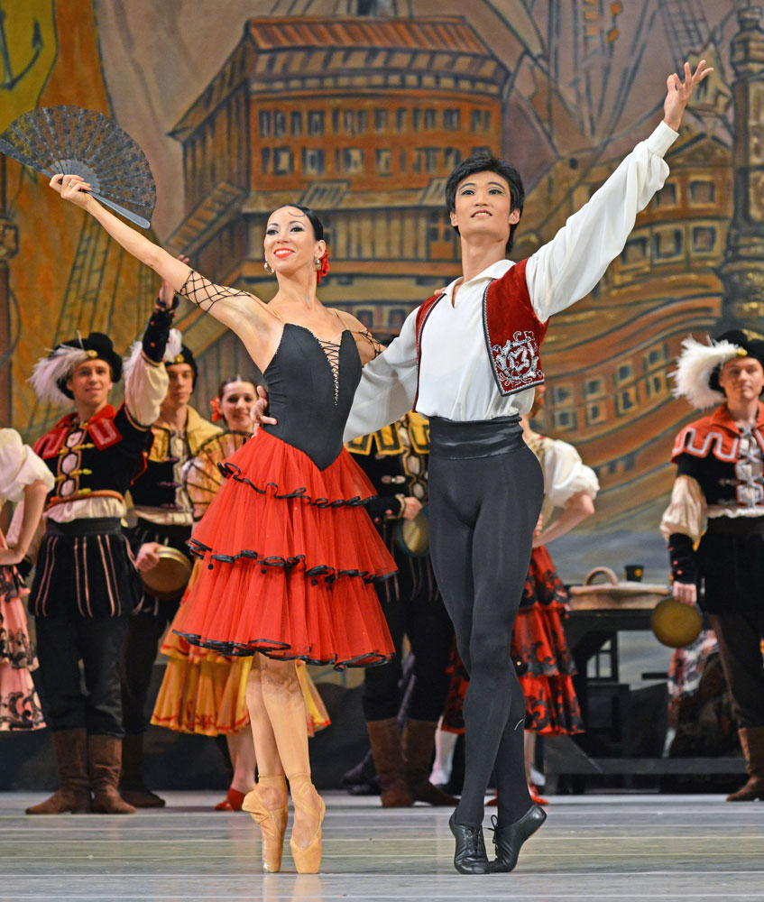 Viktoria Tereshkina and Kimin Kim in Don Quixote.© Dave Morgan. (Click image for larger version)