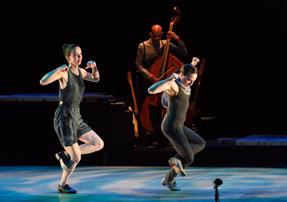 """Michelle Dorrance and Ephrat """"Bounce"""" Asherie in ETM: Double Down.© Foteini Christofilopoulou. (Click image for larger version)"""