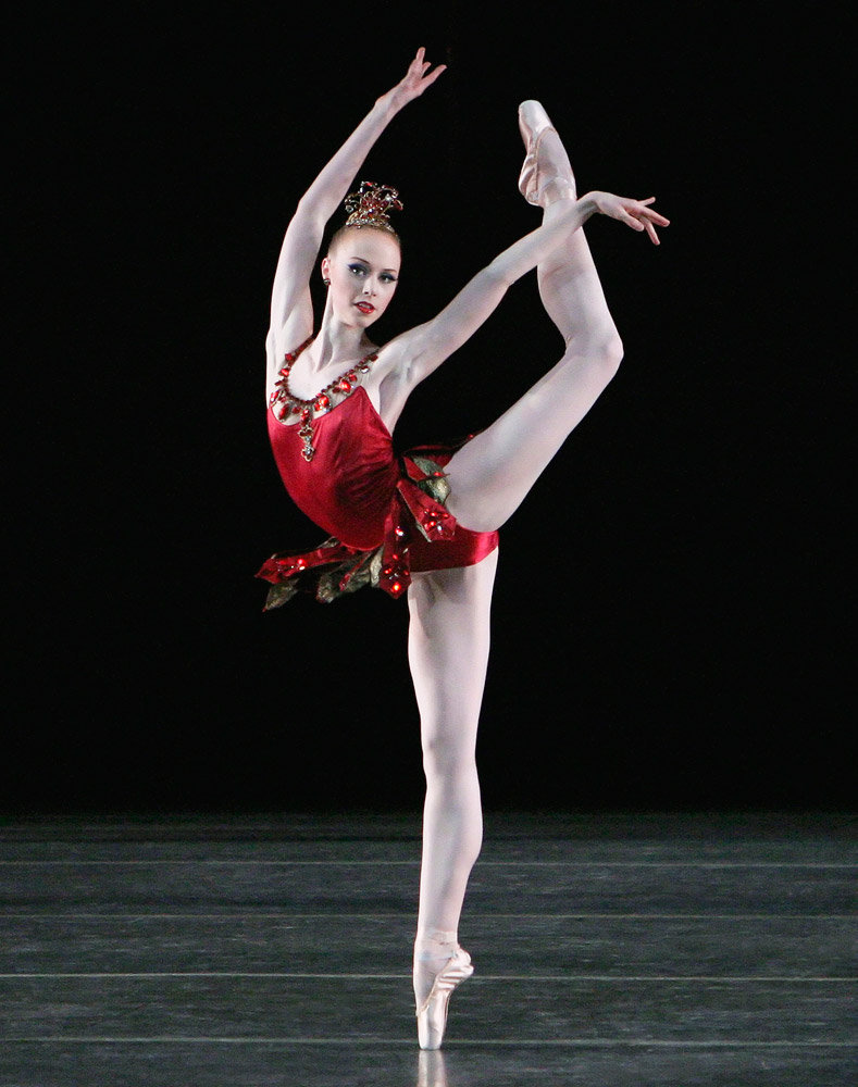 Teresa Reichlen in Rubies.© Paul Kolnik. (Click image for larger version)Jewels, choreography by George Balanchine, ©The George Balanchine Trust.