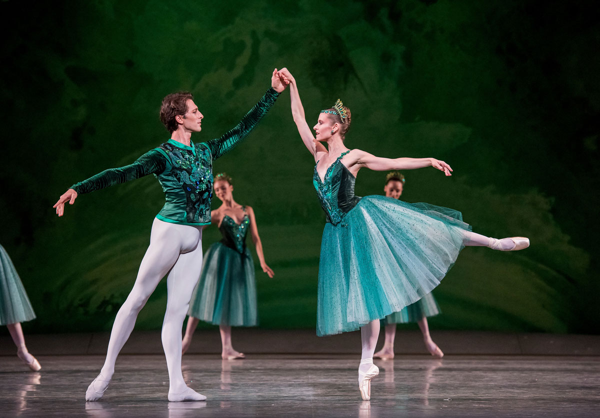 Laëtitia Pujol and Mathieu Ganio in Emeralds.© Stephanie Berger. (Click image for larger version)Jewels, choreography by George Balanchine, ©The George Balanchine Trust.