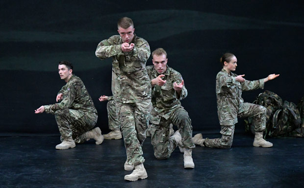 Reece Causton, Oliver Russell, Luke Bradshaw and Harriet Ellis in <I>5 Soldiers</I>.<br />© Brian Slater. (Click image for larger version)