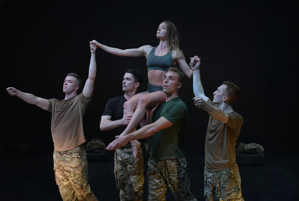 Oliver Russell, Reece Causton, Harriet Ellis, Luke Bradshaw and Duncan Anderson in 5 Soldiers.© Brian Slater. (Click image for larger version)