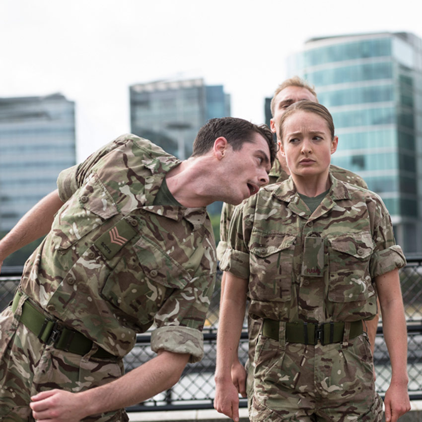 Reece Causton, Harriet Ellis and Luke Bradshaw in 5 Soldiers.© Foteini Christofilopoulou. (Click image for larger version)