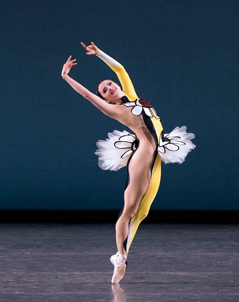 Indiana Woodward in Justin Peck's Pulcinella Variations.© Paul Kolnik. (Click image for larger version)