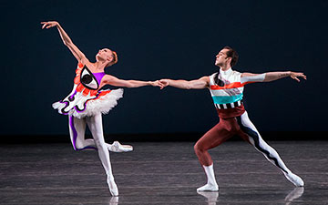 Sara Mearns and Jared Angle in Justin Peck's Pulcinella Variations.© Paul Kolnik. (Click image for larger version)