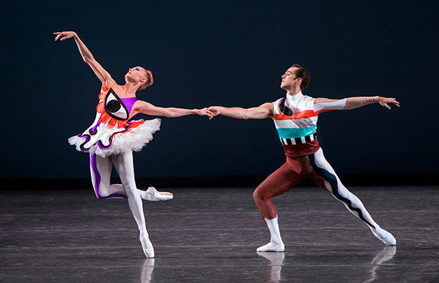 Sara Mearns and Jared Angle in Justin Peck's <I>Pulcinella Variations</I>.<br />© Paul Kolnik. (Click image for larger version)