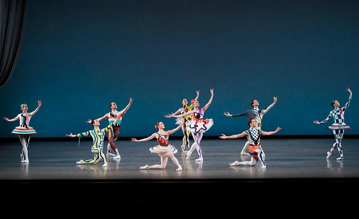 New York City Ballet in Justin Peck's Pulcinella Variations.© Paul Kolnik. (Click image for larger version)