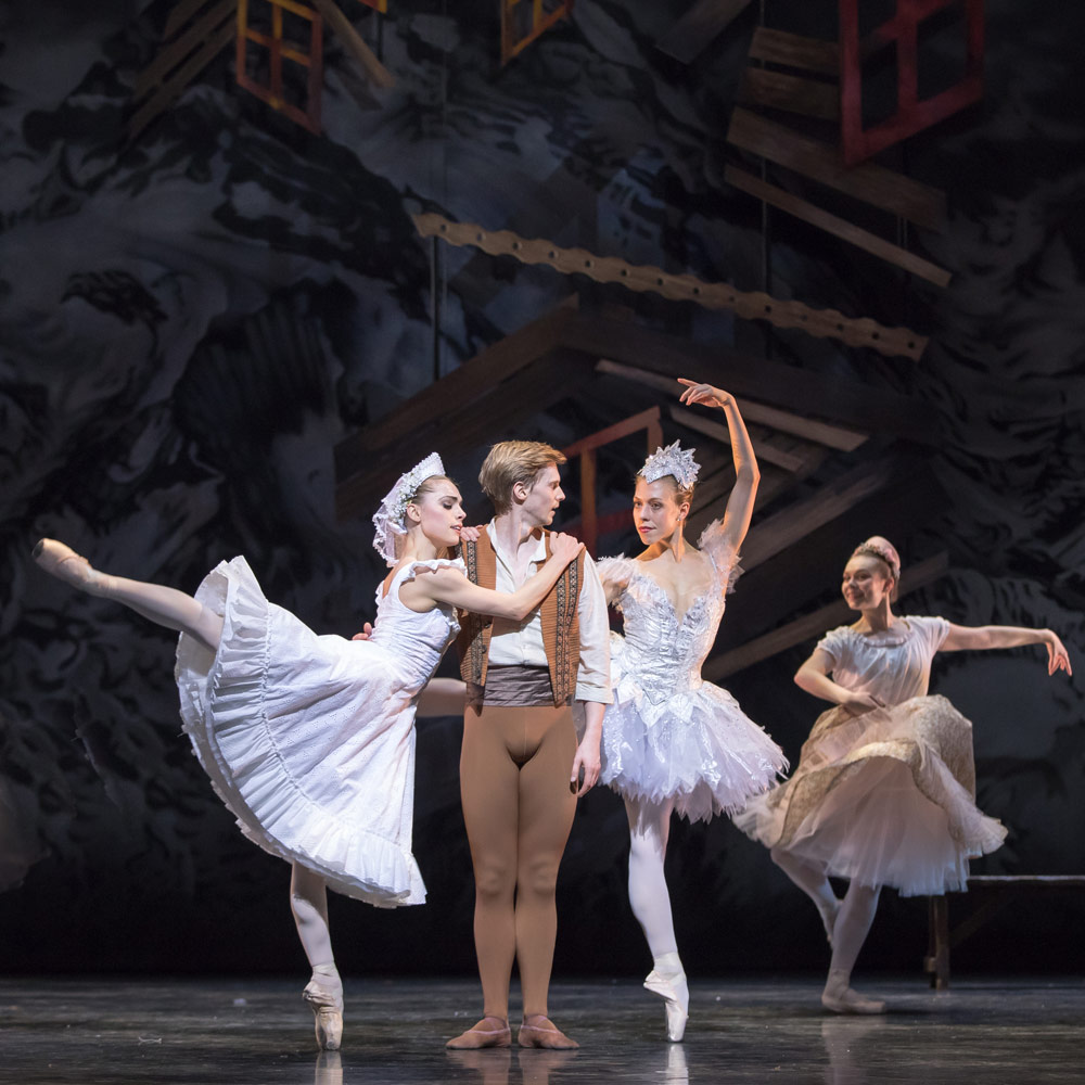 Bethany Kingsly-Garner, Andrew Peasgood and Constance Devernay in Kenneth MacMillan's The Fairy's Kiss.© Andy Ross. (Click image for larger version)