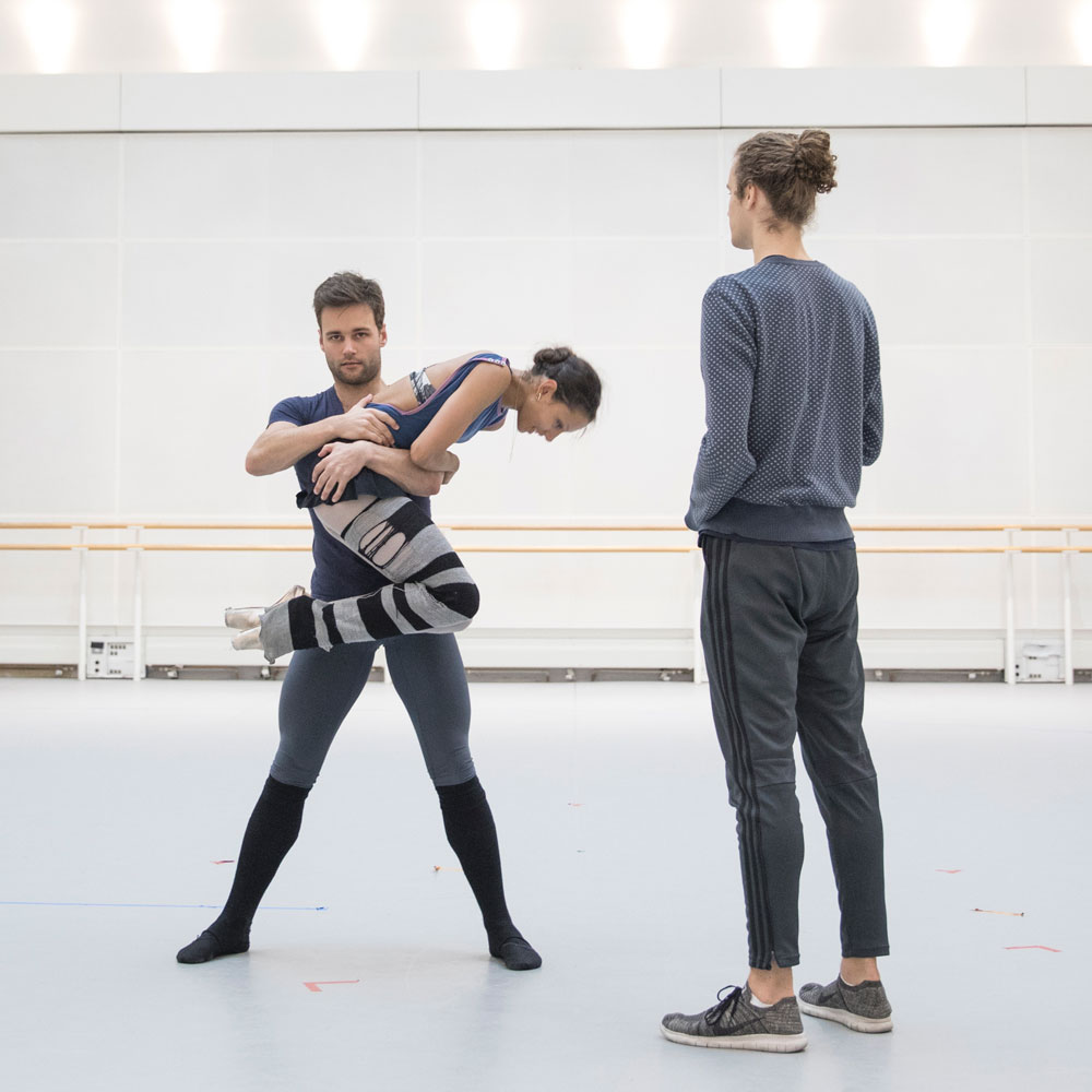 Robert Binet in the studio with Alexander Campbell and Francesca Hayward, working on The Dreamers Ever Leave You. © Andrej Uspenski. (Click image for larger version)