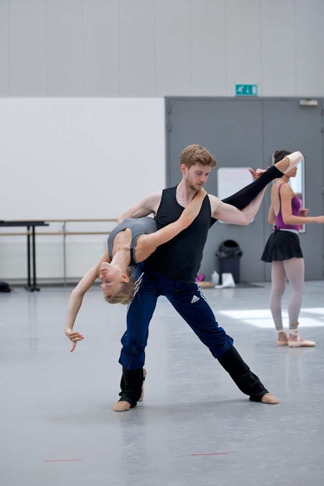Constance Devernay and Andrew Peasgood rehearsing for The Fairy's Kiss.© Christina RIley. (Click image for larger version)