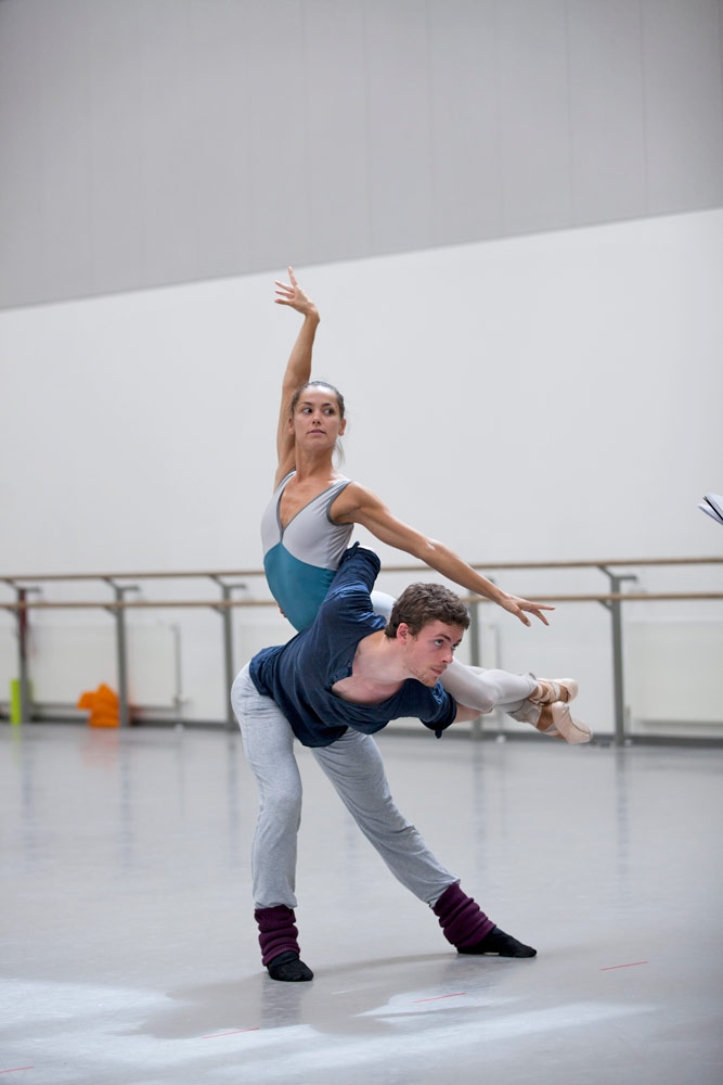 Sophie Martin and Barnaby Rook Bishop rehearsing for The Fairy's Kiss.© Christina RIley. (Click image for larger version)