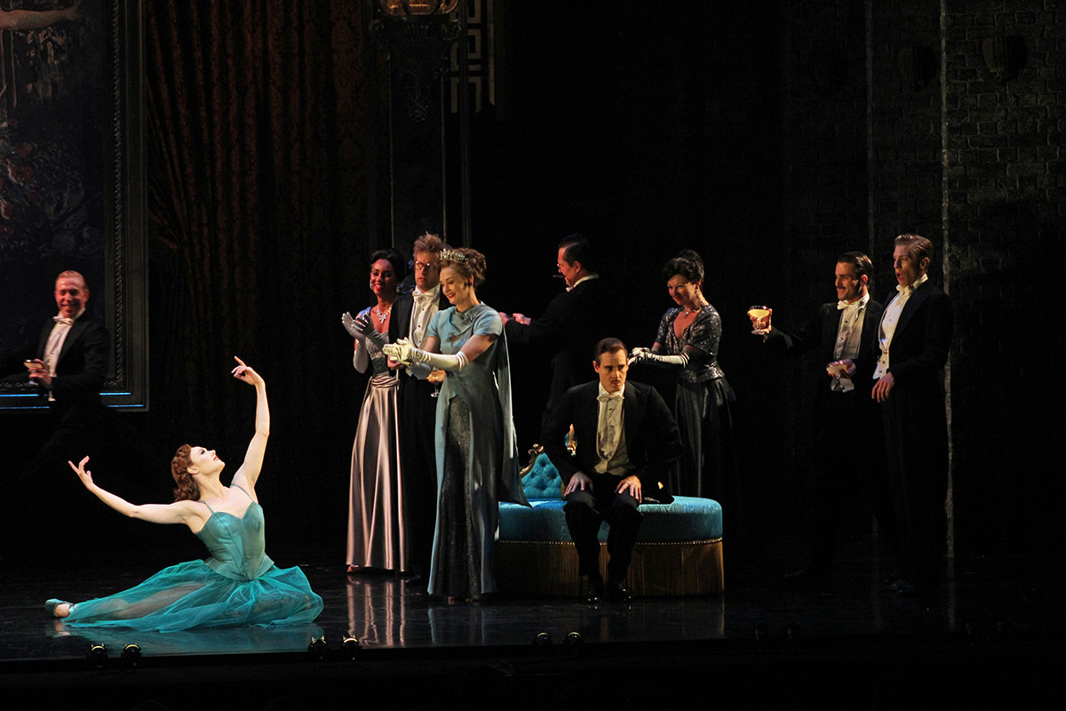 Sara Mearns and the company in The Red Shoes.© Daniel Coston. (Click image for larger version)