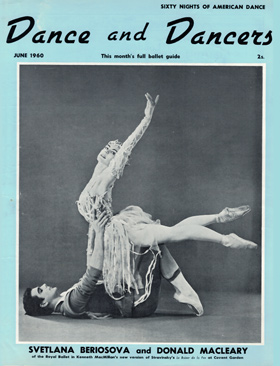 The cover of the June 1960 edition of Dance and Dancers magazine - it featured extensive coverage of the Le Baiser de la fée premiere on 12 April that year. (Click image for larger version)