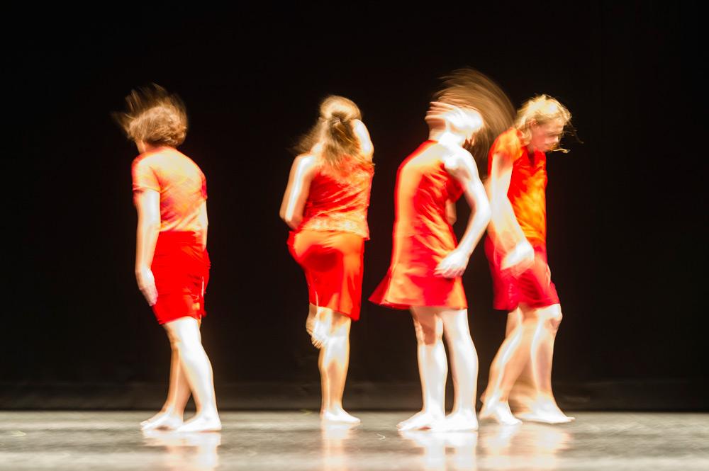 Elsa Monguillot de Mirman, Jacqueline Bâby, Coralie Levieux and Graziella Lorriaux in Maguy Marin's Trois Grandes Fugues.© Foteini Christofilopoulou. (Click image for larger version)