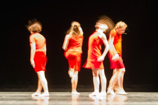 Elsa Monguillot de Mirman, Jacqueline Bâby, Coralie Levieux and Graziella Lorriaux in Maguy Marin's <I>Trois Grandes Fugues</I>.<br />© Foteini Christofilopoulou. (Click image for larger version)