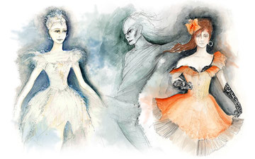Gary Harris' costume sketches for The Fairy's Kiss.© Gary Harris. (Click image for larger version)