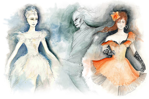 Gary Harris' costume sketches for <I>The Fairy's Kiss</I>.<br />© Gary Harris. (Click image for larger version)