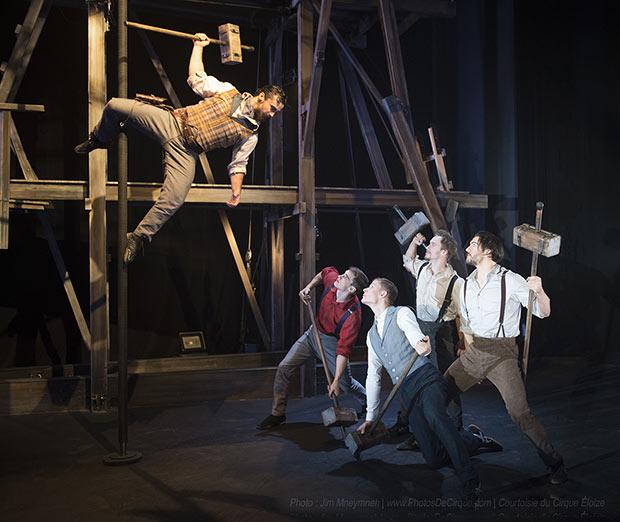 Cirque Eloize in <I>Saloon</I>.<br />© Jim Mneymneh | www.PhotosDeCirque.com | Courtoisie du Cirque Éloize. (Click image for larger version)