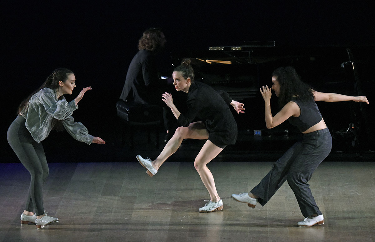 Elizabeth Burke, Michelle Dorrance and Claudia Rahardjanoto in Myelination.© Kevin Parry. (Click image for larger version)