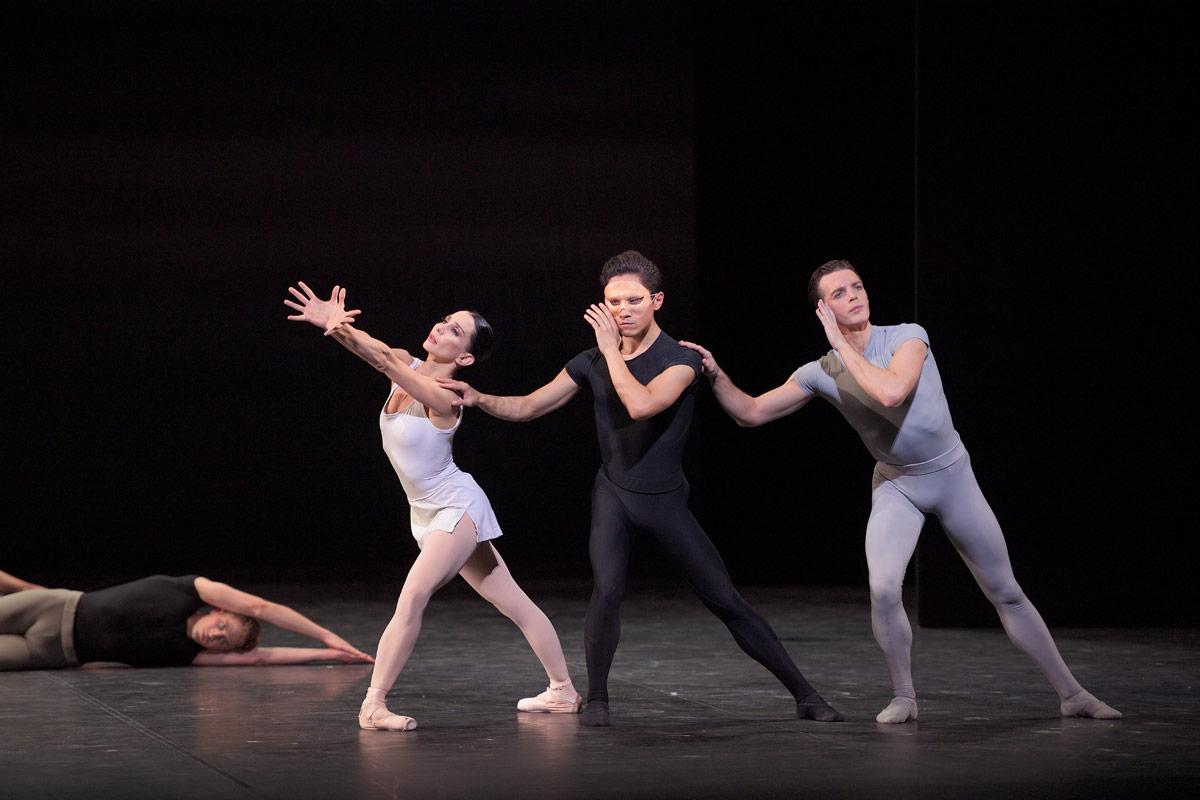 Tamara Rojo, Jeffrey Cirio and Joseph Caley in <I>Song of the Earth </I>.<br />© Laurent Liotardo. (Click image for larger version)