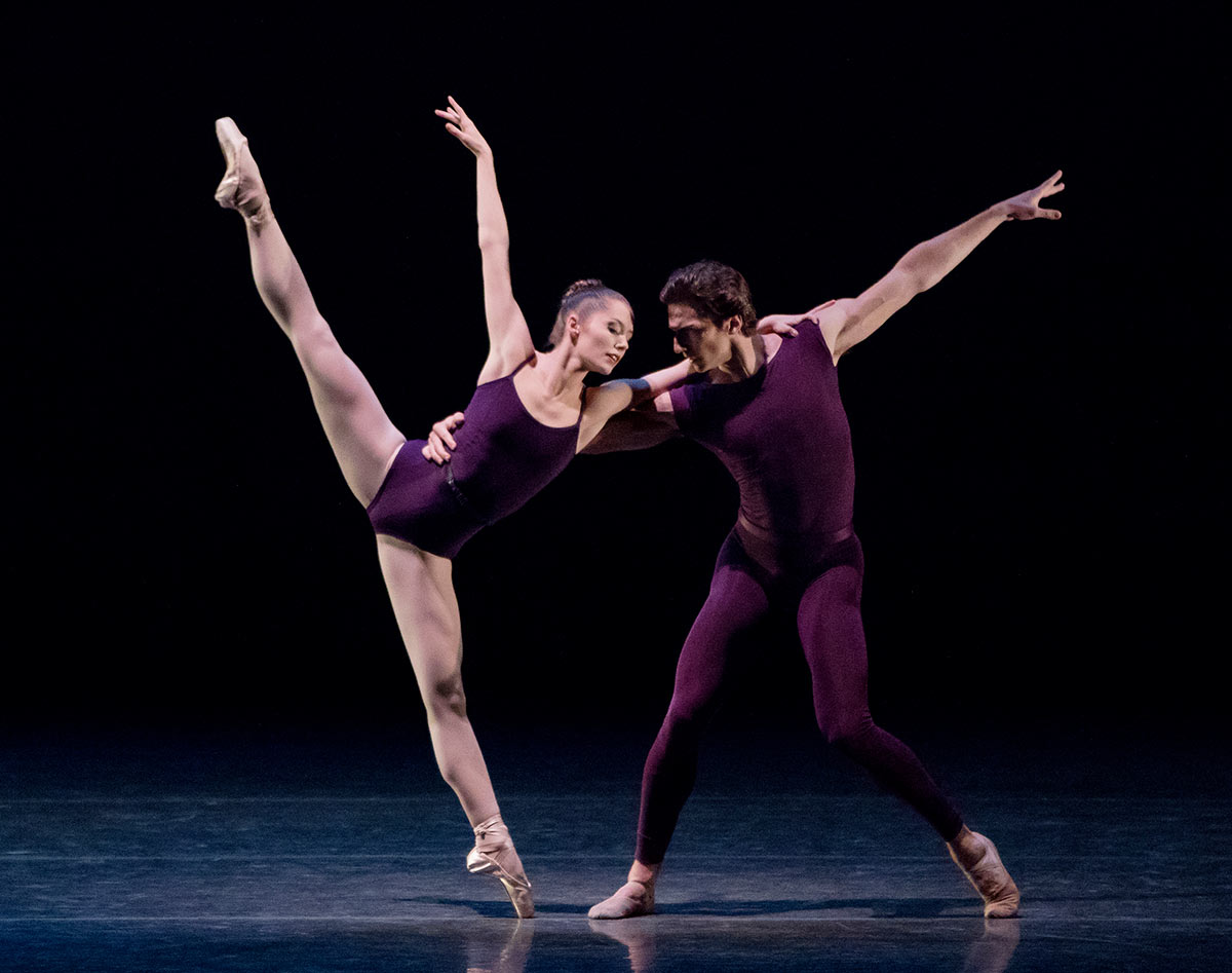 Unity Phelan and Zachary Catazaro in Christopher Wheeldon's Polyphonia.© Paul Kolnik. (Click image for larger version)