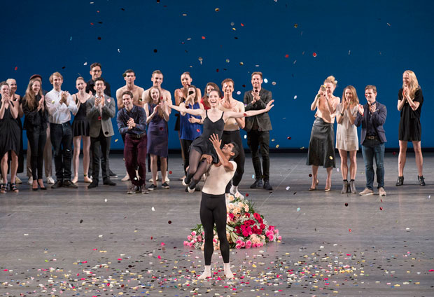 Rebecca Krohn's final curtain call after Stravinsky Violin Concerto.© Paul Kolnik. (Click image for larger version)