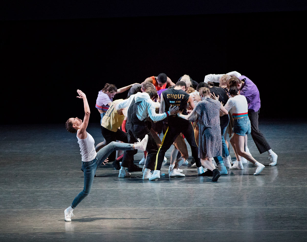 Ashly Isaacs and New York City Ballet in Justin Peck's The Times Are Racing.© Paul Kolnik. (Click image for larger version)