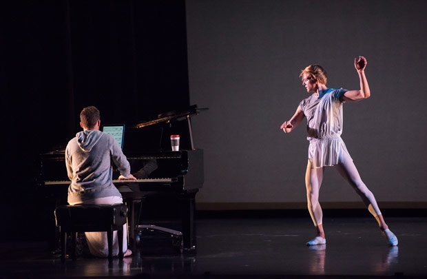 David Hallberg (with Colin Fowler) in Mark Morris's <I>Twelve of 'em</I>.<br />© Stephanie Berger. (Click image for larger version)
