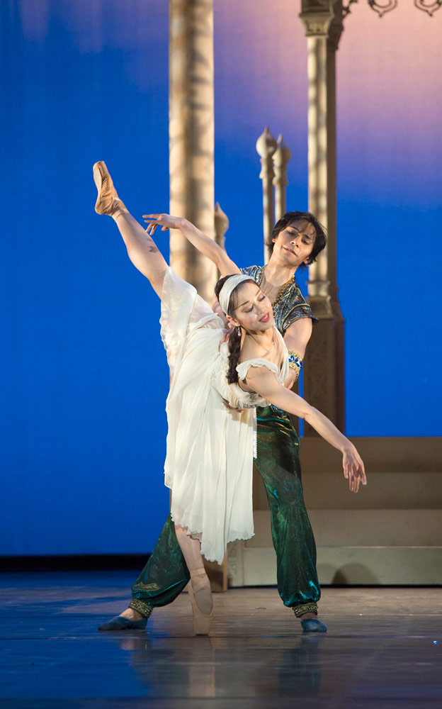 César Morales and Nao Sakuma in Aladdin.© Bill Cooper. (Click image for larger version)
