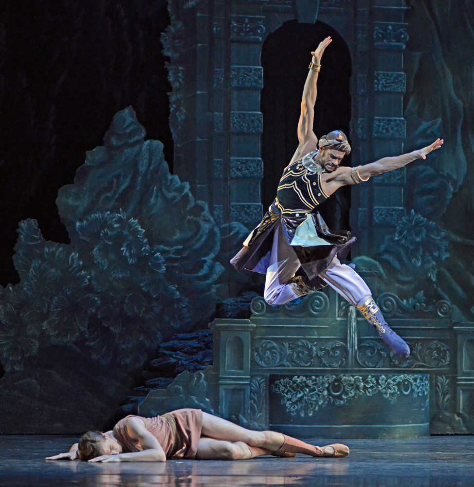 Vadim Muntagirov and Thiago Soares in <I>Sylvia</I>.<br />© Dave Morgan, courtesy the Royal Opera House. (Click image for larger version)