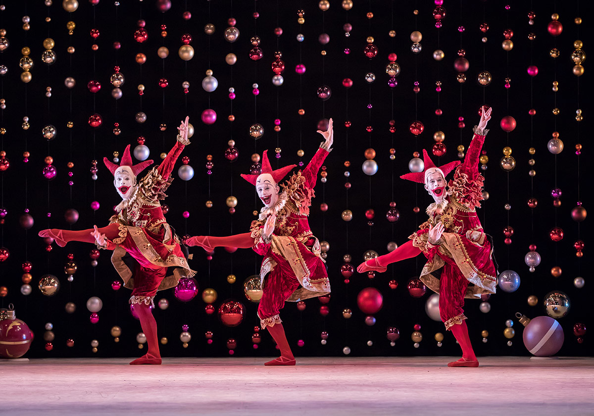 Barnaby Rook Bishop, Thomas Edwards and Simon Schilgen in The Nutcracker.© Andy Ross. (Click image for larger version)