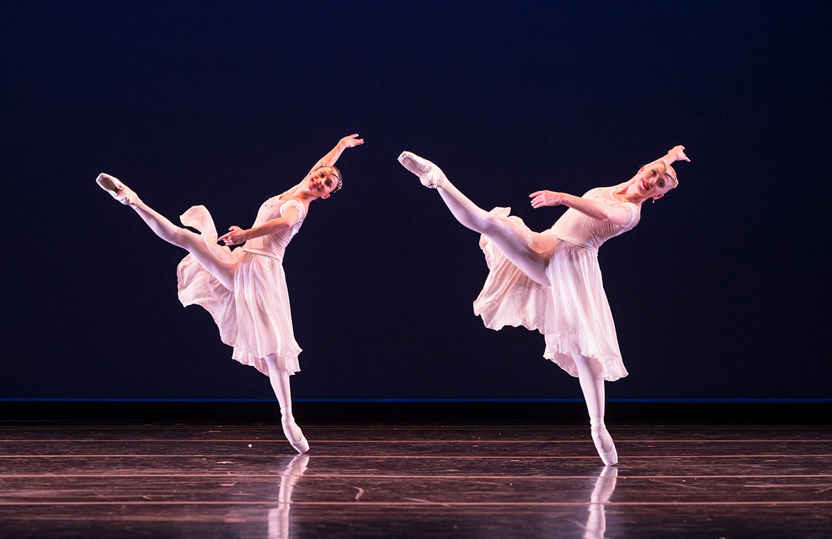 Terez Dean and Nicole Haskins in Amy Seiwert's Christmas Concerto, from The Christmas Ballet.© Keith Sutter. (Click image for larger version)