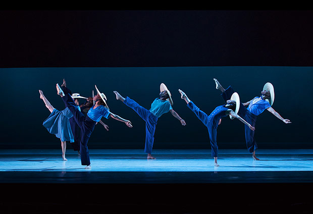 Alvin Ailey American Dance Theater in Jamar Roberts' <I>Members Don't Get Weary</I>.<br />© Paul Kolnik. (Click image for larger version)