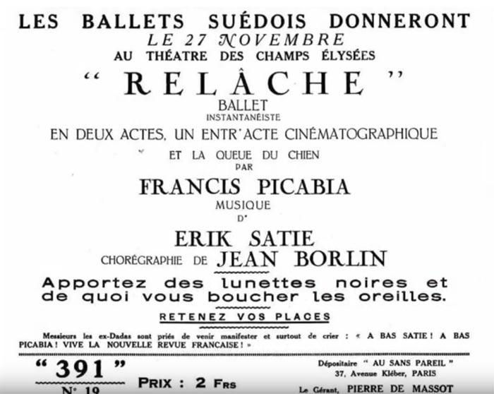 Original Relâche poster.A still from Ballet de Lorraine Relâche teaser video. (Click image for full version)
