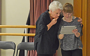 Monica Mason and Lorraine Gregory consulting the notation.© Dave Morgan. (Click image for larger version)