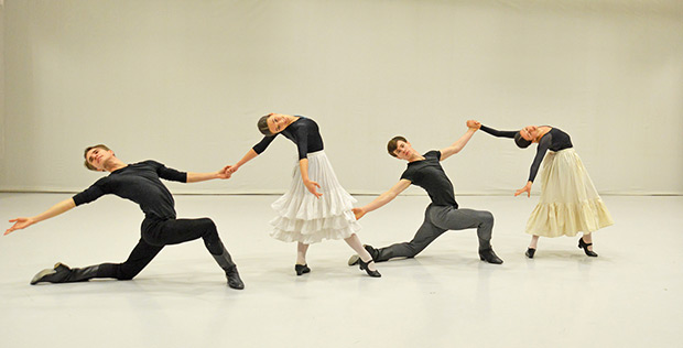 Leo Dixon, Mica Bradbury, Calvin Richardson and Leticia Dias during coaching The Spanish Dance from <I>Swan Lake</I>.<br />© Dave Morgan. (Click image for larger version)